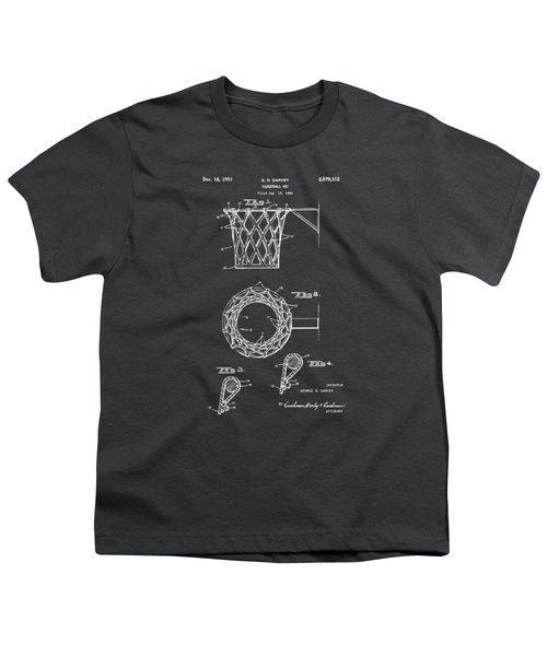 1951 Basketball Net Patent Artwork - Gray Youth T-Shirt by Nikki Marie Smith