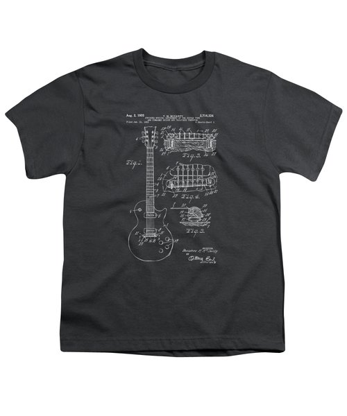 1955 Mccarty Gibson Les Paul Guitar Patent Artwork - Gray Youth T-Shirt
