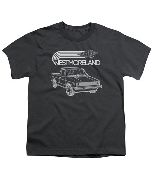 Vw Rabbit Pickup - Westmoreland Theme - Black Youth T-Shirt by Ed Jackson