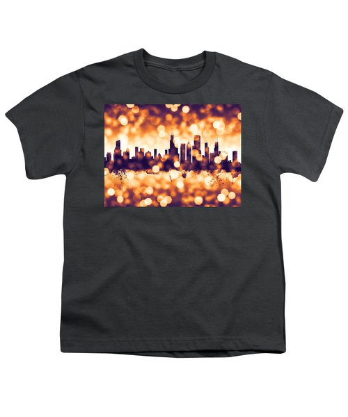 Chicago Illinois Skyline Youth T-Shirt by Michael Tompsett