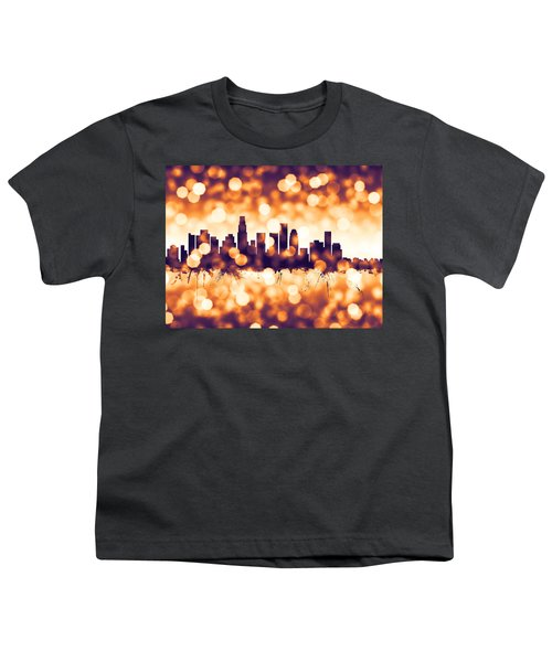Los Angeles California Skyline Youth T-Shirt by Michael Tompsett