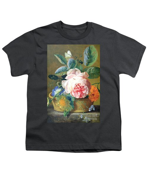 A Basket With Flowers Youth T-Shirt by Jan van Huysum