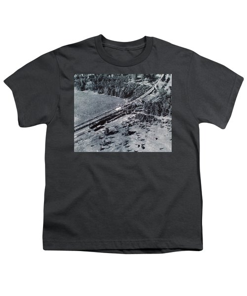Aerial Train Wreck Youth T-Shirt
