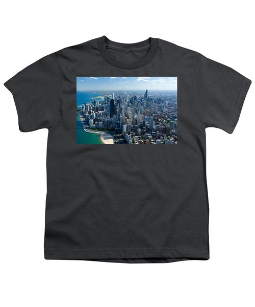 Aerial View Of A City, Lake Michigan Youth T-Shirt by Panoramic Images