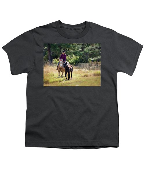 Afternoon Ride In The Sun - Cowgirl Riding Palomino Horse With Foal Youth T-Shirt