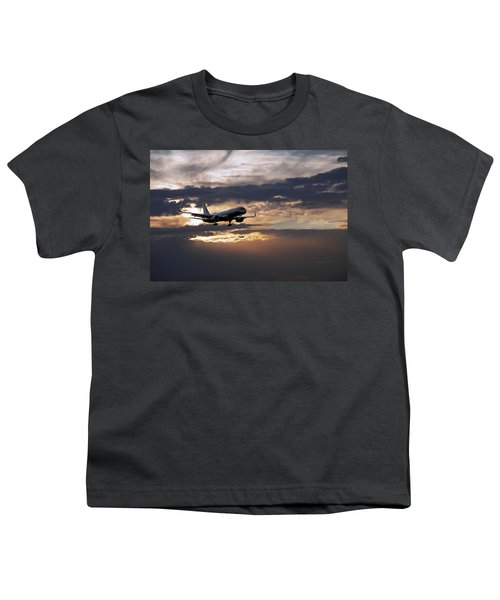 American Aircraft Landing At The Twilight. Miami. Fl. Usa Youth T-Shirt
