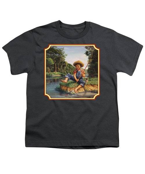 Americana - Country Boy Fishing In River Landscape - Square Format Image Youth T-Shirt