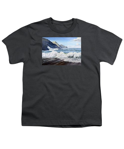 Youth T-Shirt featuring the painting An April Morning At Crackington Haven by Lawrence Dyer
