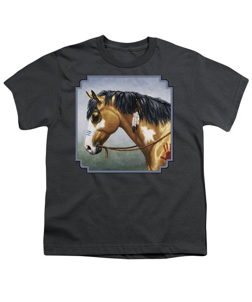 Buckskin Native American War Horse Youth T-Shirt by Crista Forest
