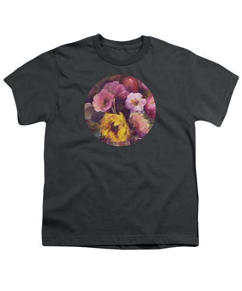 Abundance- Floral Painting Youth T-Shirt by Mary Wolf