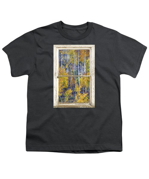 Aspen Tree Magic Cottonwood Pass White Farm House Window Art Youth T-Shirt