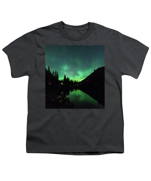 Aurora On Moraine Lake Youth T-Shirt by Alex Lapidus
