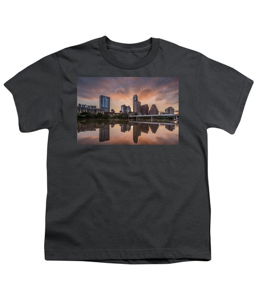 Austin Skyline Sunrise Reflection Youth T-Shirt by Todd Aaron