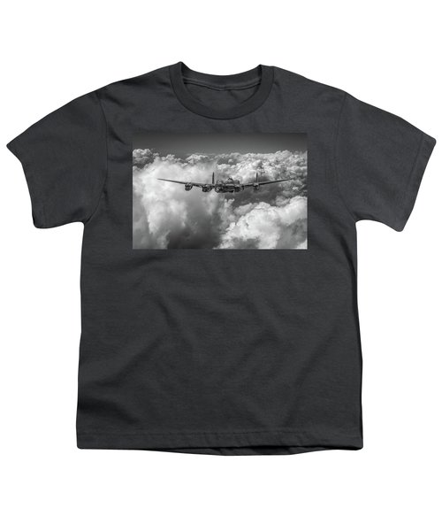 Youth T-Shirt featuring the photograph Avro Lancaster Above Clouds Bw Version by Gary Eason