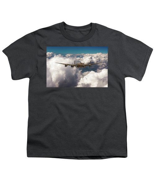 Youth T-Shirt featuring the photograph Avro Lancaster Above Clouds by Gary Eason