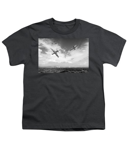 Youth T-Shirt featuring the photograph Bf109 Down In The Channel Bw Version by Gary Eason