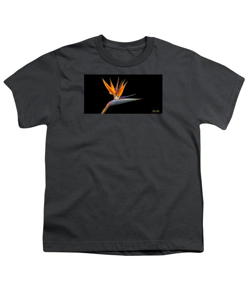 Youth T-Shirt featuring the photograph Bird Of Paradise Flower On Black by Rikk Flohr