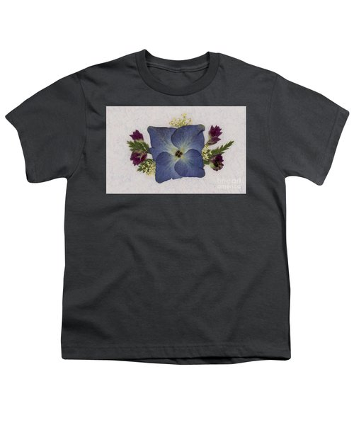 Blue Hydrangea Pressed Floral Design Youth T-Shirt