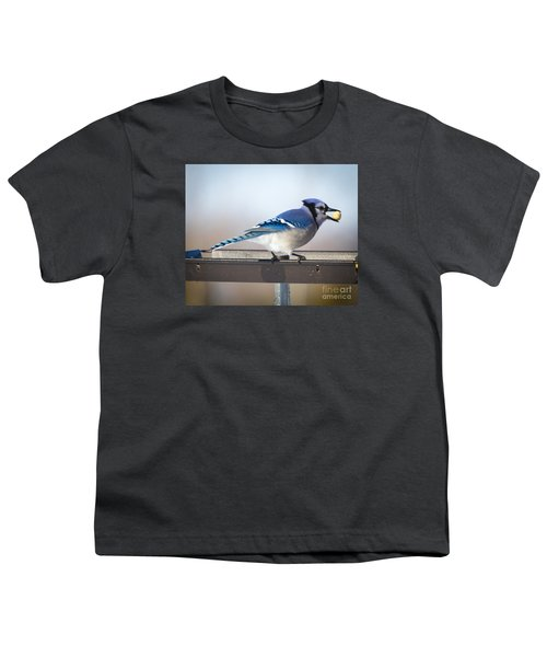 Youth T-Shirt featuring the photograph Blue Jay With A Mouth Full by Ricky L Jones