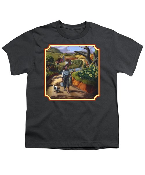 Boy And Dog Country Farm Life Landscape - Square Format Youth T-Shirt