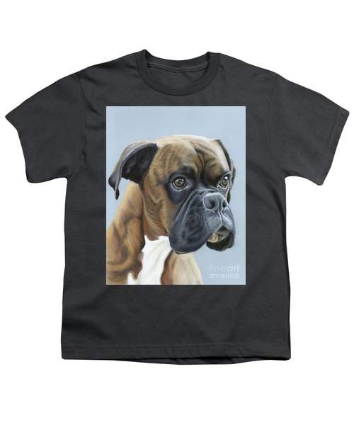 Youth T-Shirt featuring the painting Brindle Boxer Dog - Jack by Donna Mulley