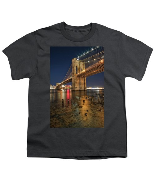 Brooklyn Bridge At Night Youth T-Shirt