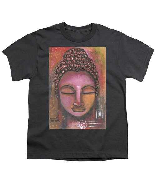 Youth T-Shirt featuring the mixed media Buddha In Shades Of Purple by Prerna Poojara