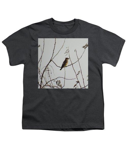 Cedar Wax Wing In Tree Youth T-Shirt by Kenneth Willis
