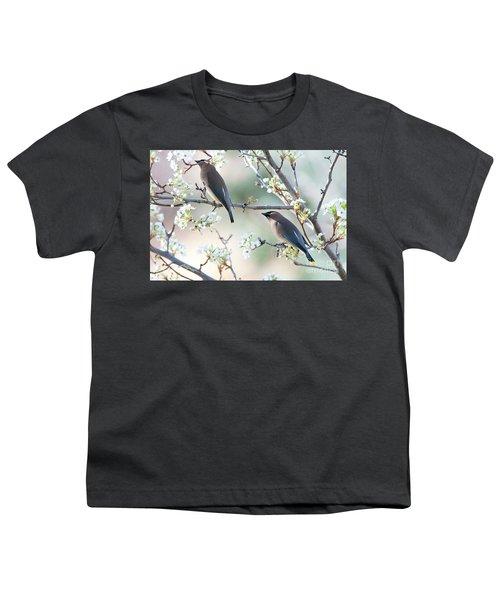 Cedar Wax Wing Pair Youth T-Shirt by Jim Fillpot