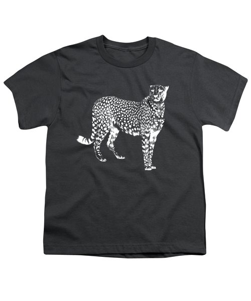 Cheetah Cut Out White Youth T-Shirt by Greg Noblin