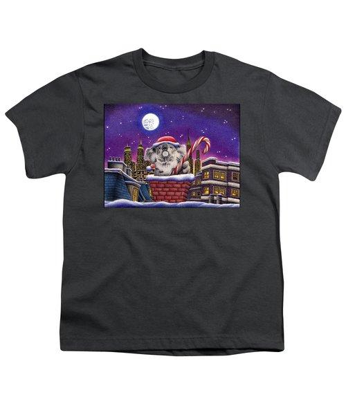 Christmas Koala In Chimney Youth T-Shirt by Remrov