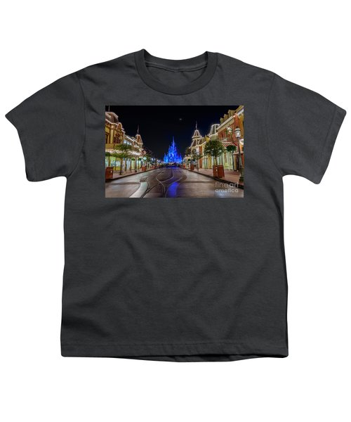 Cinderella Castle Glow Over Main Street Usa Youth T-Shirt