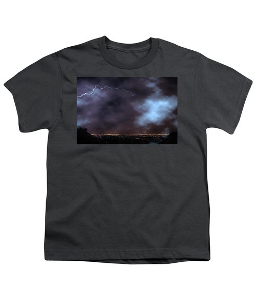 Youth T-Shirt featuring the photograph City Lights Night Strike by James BO Insogna
