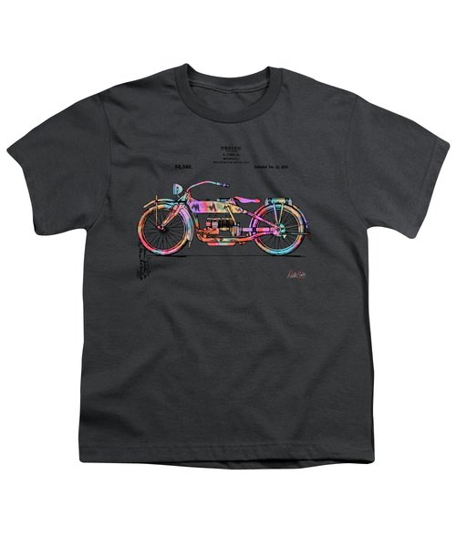 Colorful 1919 Harley-davidson Motorcycle Patent Youth T-Shirt