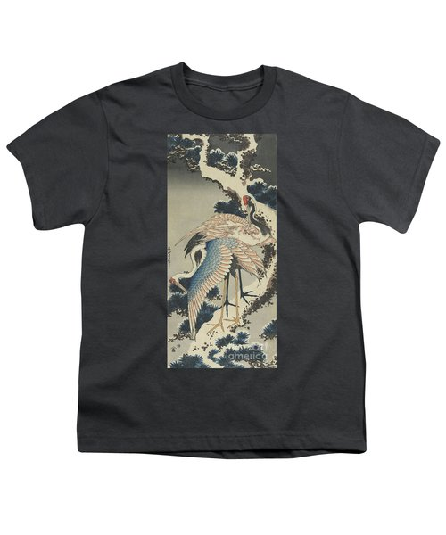 Cranes On Pine Youth T-Shirt by Hokusai