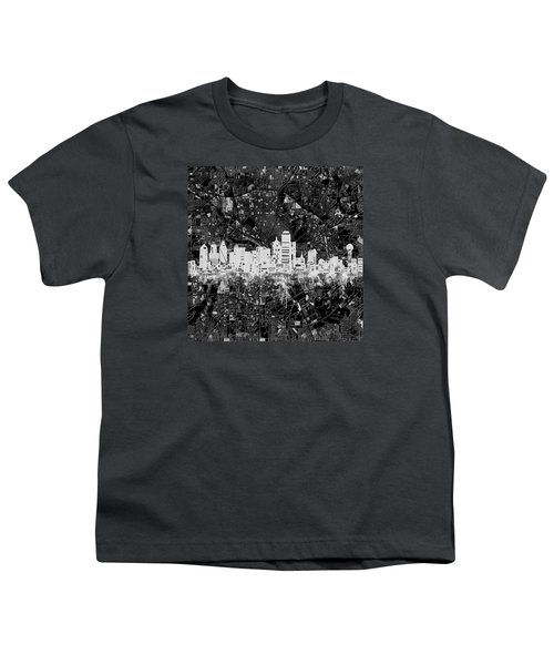 Dallas Skyline Map Black And White 5 Youth T-Shirt
