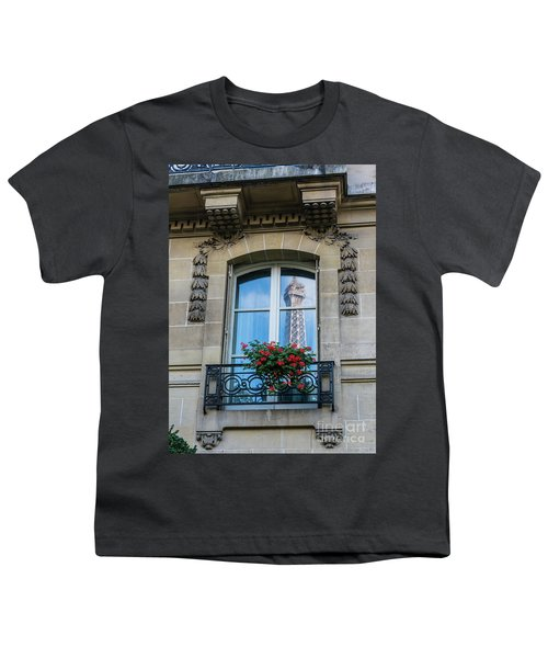 Eiffel Tower Paris Apartment Reflection Youth T-Shirt by Mike Reid
