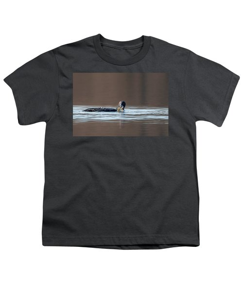 Feeding Common Loon Youth T-Shirt by Bill Wakeley
