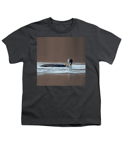 Feeding Common Loon Square Youth T-Shirt by Bill Wakeley