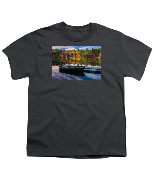 Youth T-Shirt featuring the photograph Fishing Boat On Mirror Lake by Rikk Flohr