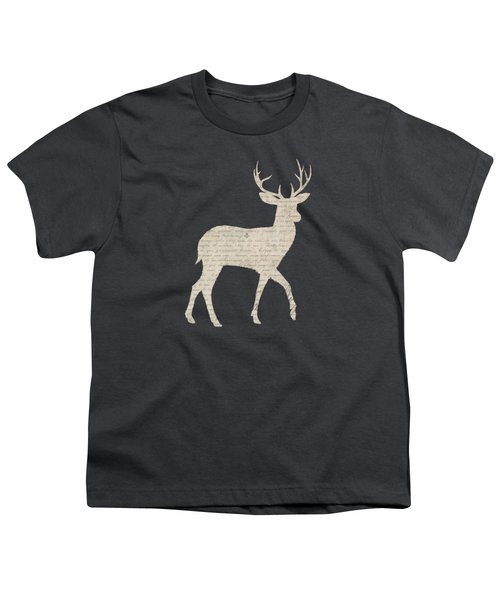 French Script Stag Youth T-Shirt by Amanda Lakey