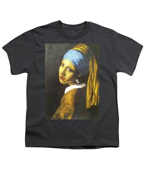 Youth T-Shirt featuring the painting Girl With Pearl Earring by Jayvon Thomas