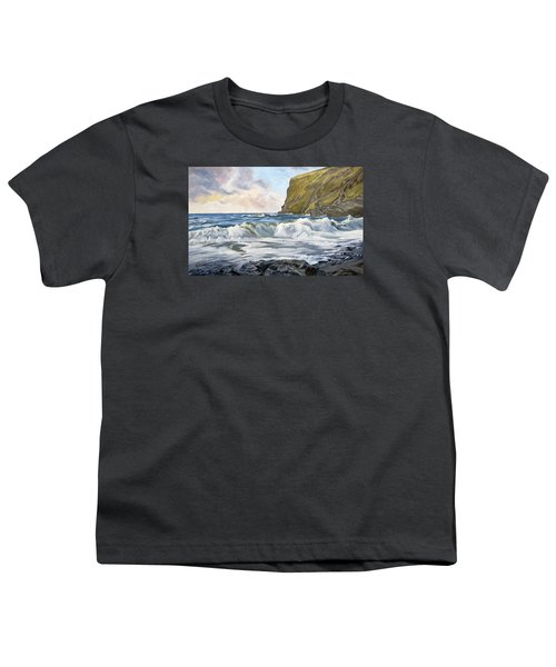 Youth T-Shirt featuring the painting Glowing Sky At Pencannow Point by Lawrence Dyer