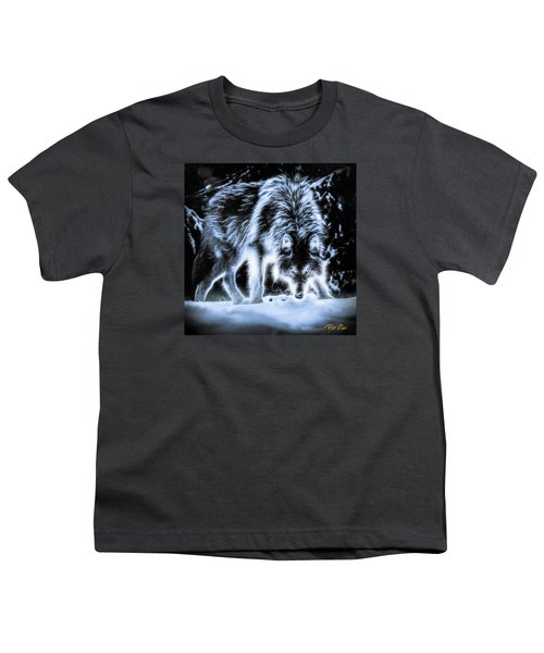 Youth T-Shirt featuring the photograph Glowing Wolf In The Gloom by Rikk Flohr
