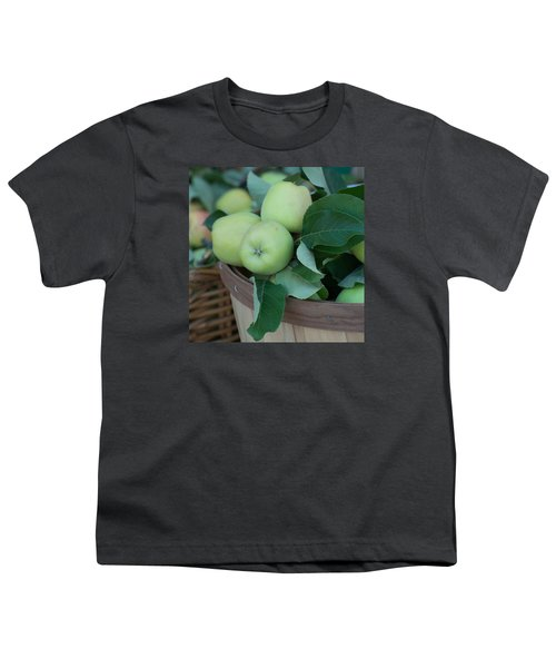 Green Apples In A Basket  Youth T-Shirt by Michael Moriarty