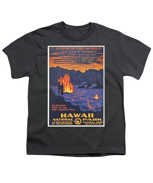 Hawaii Vintage Travel Poster Youth T-Shirt by Georgia Fowler