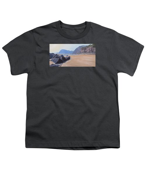Youth T-Shirt featuring the painting High Peak Cliff Sidmouth by Lawrence Dyer