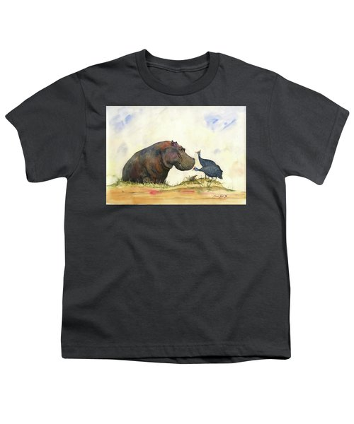 Hippo With Guinea Fowls Youth T-Shirt