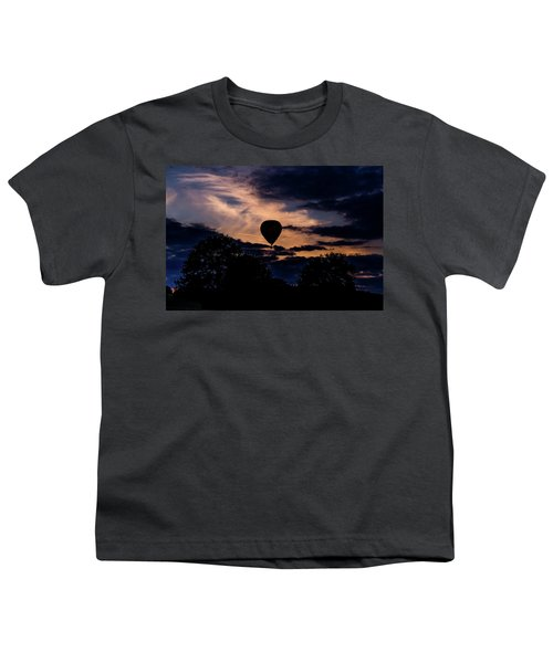 Hot Air Balloon Silhouette At Dusk Youth T-Shirt