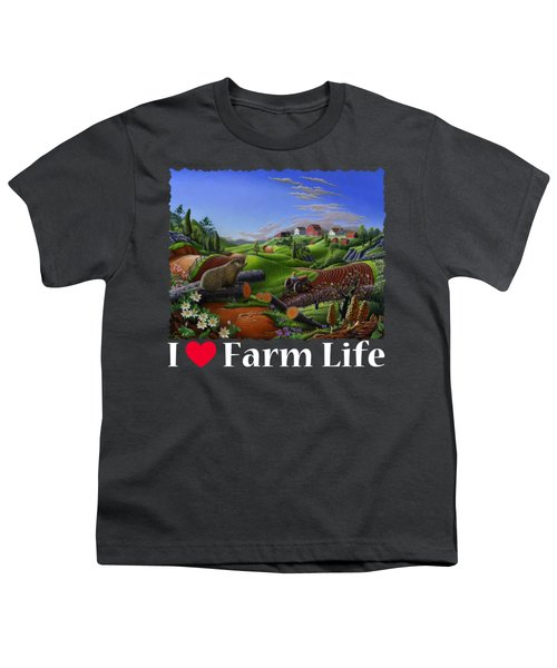I Love Farm Life T Shirt - Spring Groundhog - Country Farm Landscape 2 Youth T-Shirt by Walt Curlee